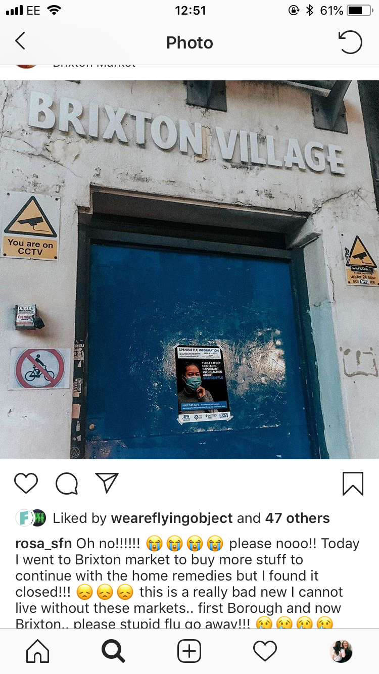 instagram post showing Brixton market closed for quarantine