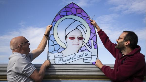Lewis Capaldi as a stained glass window