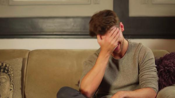 A still from the Delicious video series of a man laughing