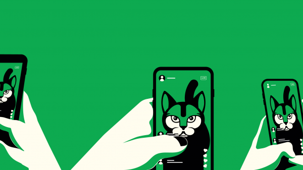 Illustration showing several smartphones live streaming the same image of a cat